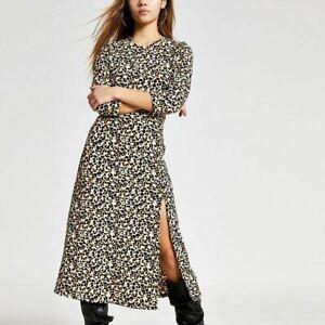 River Island Womens Petite Beige Printed A Line Midi Dress