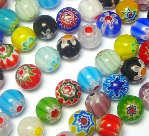 Millefiori Perles de Verre Artisanale Rond 6 mm 65stk multicolores 1 Strang d7a