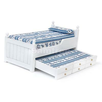 Dolls House Miniature Bedroom Furniture White Wood Single Trundle Guest Bed