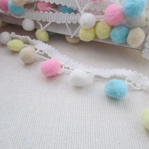 Large Multicolore Pompon Trim 6 mm-Choix de couleurs pour la couture /& Craft