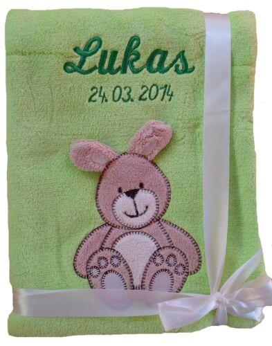 Babydecke hellgrün Hase mit Namen bestickt Baby Decke Taufe Geburt Geschenk Name