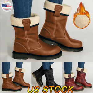 Women Vintage Mid-Calf Low Heel Snow Boots Winter Warm Fur Lined Boot Shoes Size