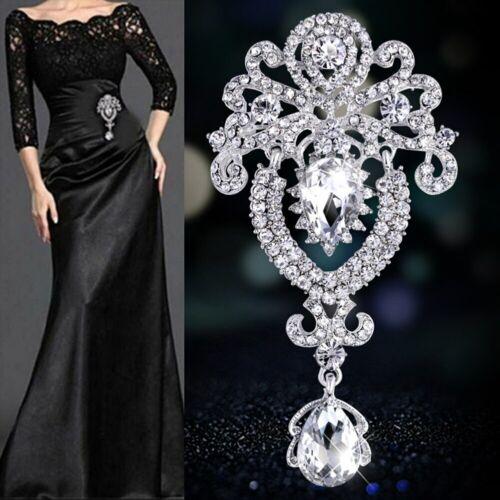 Crown Style Brooch Broach Pin Large Vintage Alloy Rhinestone Diamante Wedding UK