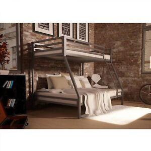 Kids Bunk Bed Twin Over Full Metal Bedroom Furniture Ladder Dorm