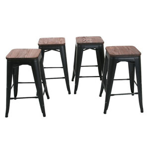 Remarkable Details About Set Of 4 Metal Bar Stools 24 Counter Height Barstool W Wooden Seat Matte Black Beatyapartments Chair Design Images Beatyapartmentscom