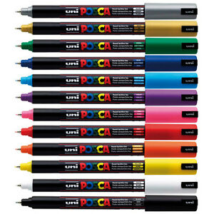 UNI-POSCA-COLOUR-MARKER-PC-1MR-PAINT-PENS-EXTRA-FINE-NIB-TIP-0-7mm-ANY-SURFACE