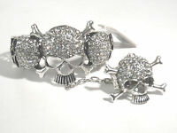 Clear Skull Cross Bones Gothic Ring Rhinestone Western Jewelry Cuff Bracelet 6-5