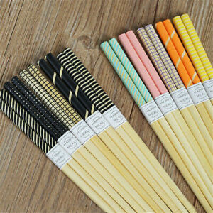 5-Pairs-Stripe-Spot-Grid-Streak-Chopsticks-Wooden-Sushi-Japanese-Sticks-Set