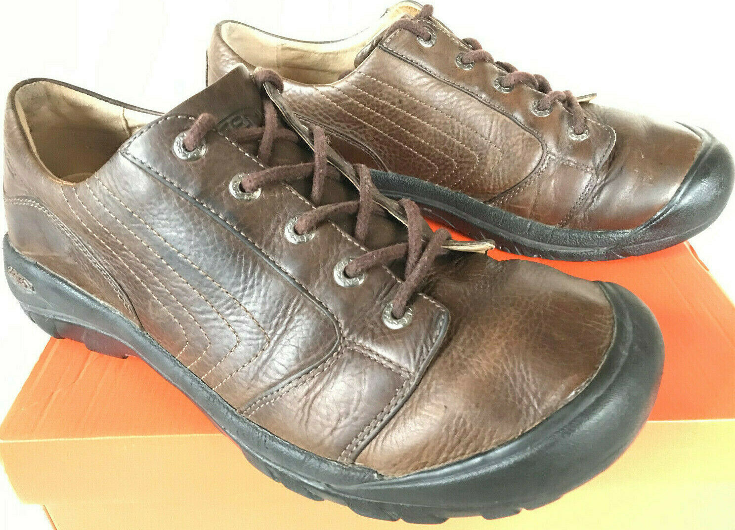 KEEN Alki Lace Shitake 13008 Brown Leather Comfort Lace-Up Oxford shoes Men's 12