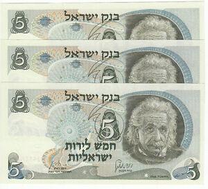 1968-Israel-5-Lirot-Albert-Einstein-Red-Serial-P34B-UNC-3-Consecutive-Notes
