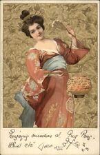 Art Deco Nouveau Woman Japanese Kimono w/ Chinese Lantern MEISSNER & BUCH