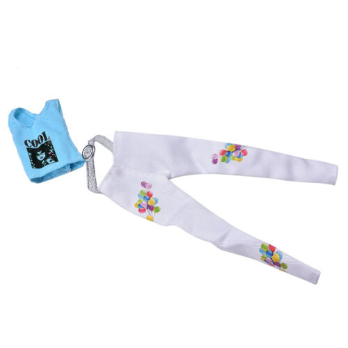 2 Pcs//Set Blue Vest Suit for  Dolls White Pants Fashion Trendy Doll Set HIBB