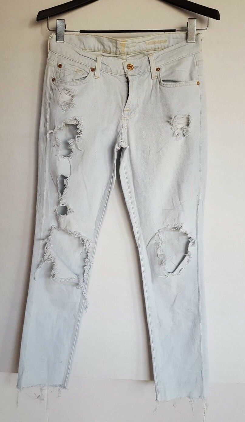 7 FOR ALL MANKIND WOMEN'S ROXANNE DISTRESSED JEANS LIGHT blueE 26