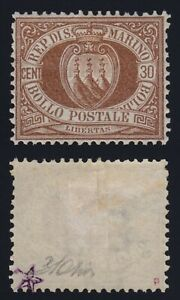 San Marino 1877  Stemma  30 c. bruno n. 6 gomma originale MLH* cert. B.S. Oliva