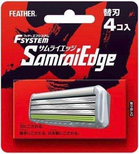 "Japanese ""Samurai Edge"" Safety Razor Feather 4 spare Blades Blade Made in Japan"