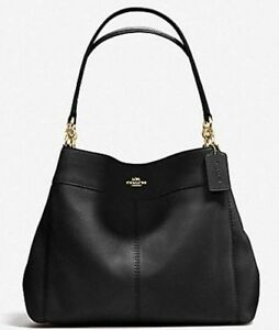 New Coach 28997 Lexy Pebble Leather Shoulder Bag handbag Black with Gold 191202715233