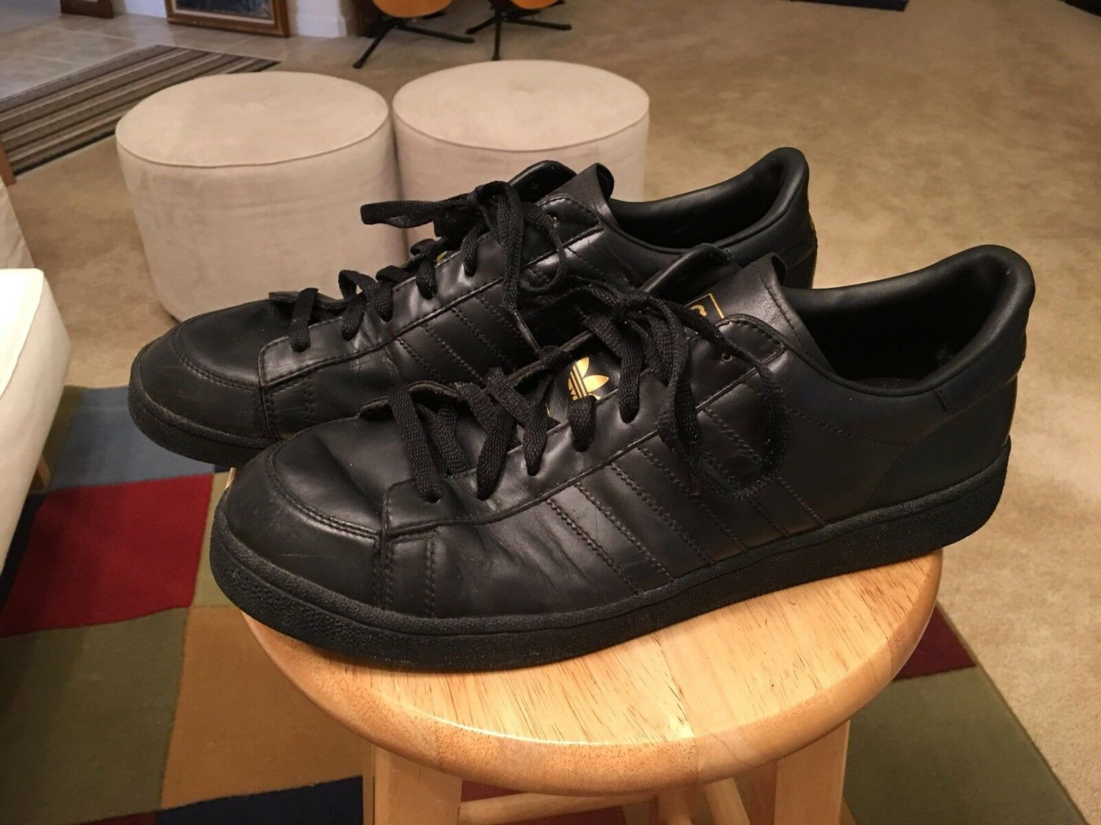 Adidas ABDUL JABBAR Black Men's US14 Leather Athletic Sneakers Shoes
