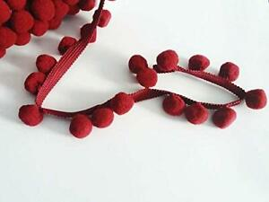 "XL SIZE 2cm 1M POM POM BOBBLE TRIM FRINGE #C BURGUNDY 0.8/"" BEST QUALITY!"