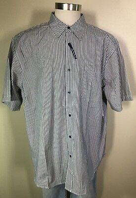 Basic Editions Short Sleeve Black White Striped Easy Care Shirt Big Men/'s 2XL