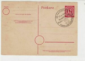 Germany 1946 Hannover Exhibition Plan+Create Slogan Cancel Stamp Card  Ref 30238