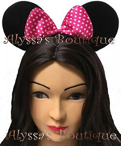 12 PC MINNIE MOUSE EAR HEADBANDS BLACK WITH DARK PINK POLKA DOT BOW PARTY MICKEY