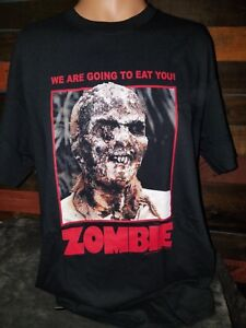 Zombie-Lucio-Fulci-Two-Sided-Black-T-Shirt-034-We-are-Going-to-Eat-You-034-Official
