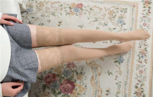 Women Over Knee Socks Lace Long Thigh High Soft Cotton Stockings Plain Leggings