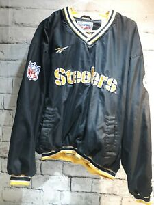 ecfb39f3 Image is loading Mens-Reebok-Pittsburgh-Steelers-Pullover -Lined-Shirt-Jacket-