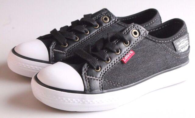 51bdea86c378 NEW Levi s Kids Boys Girls Stan Buck C Black Denim Sneakers Gym Shoes NIB