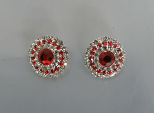1 Pair 22mm Red /& Silver Diamonte Button Centres DIY Browbands