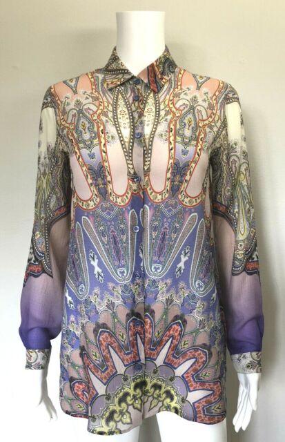 ETRO Multicolor Paisley Print Silk Crepe Blouse Top, sz 40