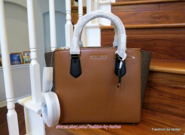 NWT Michael Kors CAROLYN LeatherSignature PVC Large Tote Shoulder Bag