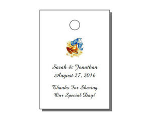 """64 Personalized Wedding Rectangle Party Favor Gift Hang Tags 1.75x2.5/"""""""