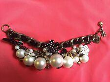 Betsey Johnson Vintage Pearl Cluster Polka Dot Black White Flower Bow Bracelet