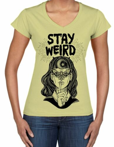 Witches Festival Stay Wierd Witch Girl Hipster V Neck Women/'s T-Shirt