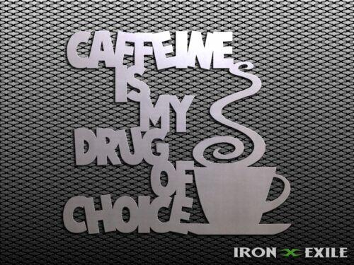 Funny Metal Kitchen Wall Art Decor Sign Coffee Lover Gift Idea CAFFEINE DRUG