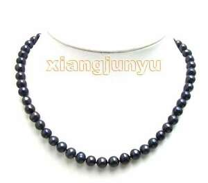 6-7mm-Black-Natural-Freshwater-Pearl-Necklace-for-Women-Chokers-17-034-Jewelry-5567