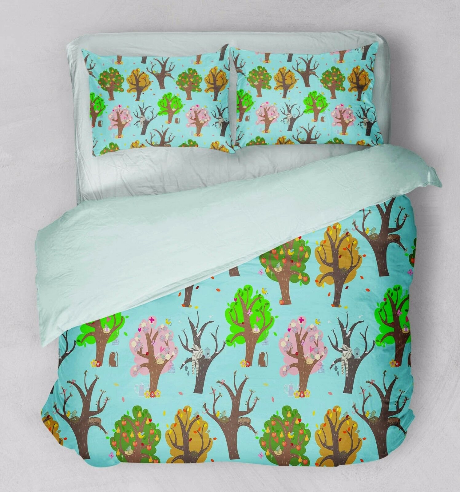 3D Farbe Trees 771 Bed Pillowcases Quilt Duvet Cover Set Single Queen UK Carly