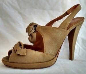 Hobbs-Womens-Ladies-Brown-Gold-Suede-Summer-Evening-Sandals-Size-4-37-New