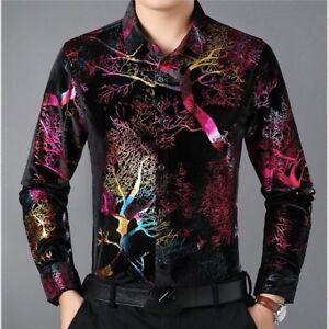 Men-Velvet-Shirts-Casual-Long-Sleeve-Blouse-Flower-Pleuche-Tops-Formal-Business