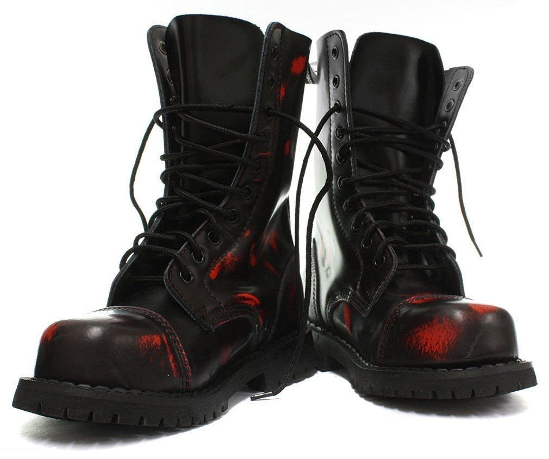 Grinders Hunter Nero Rosso rub off in pelle Rosso unisex Anfibi Militare Punk Rosso pelle 97974e