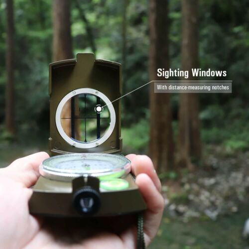 Professional Pocket Metal Military Tactical Compass Sighting Clinometer Camping