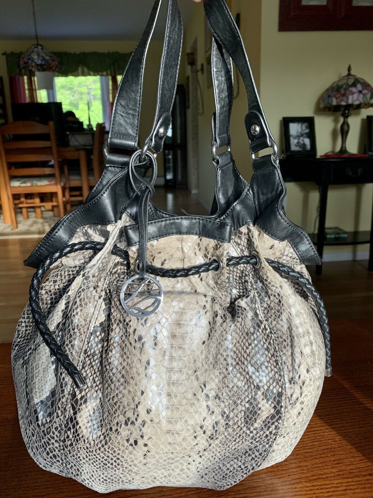 STYLE& CO. Women's Stylish Silver/Gray Handbag Purse Tote Pleated Lined .