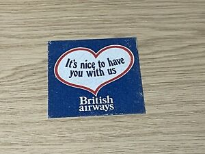 Vintage British Airways It's Nice to Have You With Us Love-heart Iron On Patch