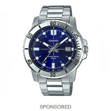Casio MTP-VD01D-2E Men's Stainless Steel Watch BLUE Date Dial 50M WR NEW MODEL