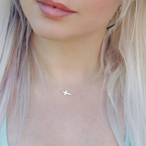 Women Fashion Cross Necklace Chic Tiny Cross Pendant Chains Collar NecklacesMHI