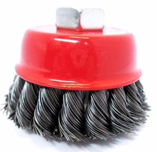 "8 8pc 3/"" 75mm Steel Twist Knot Wire Cup Brush M14 De Burring Grinder Rust  2101"