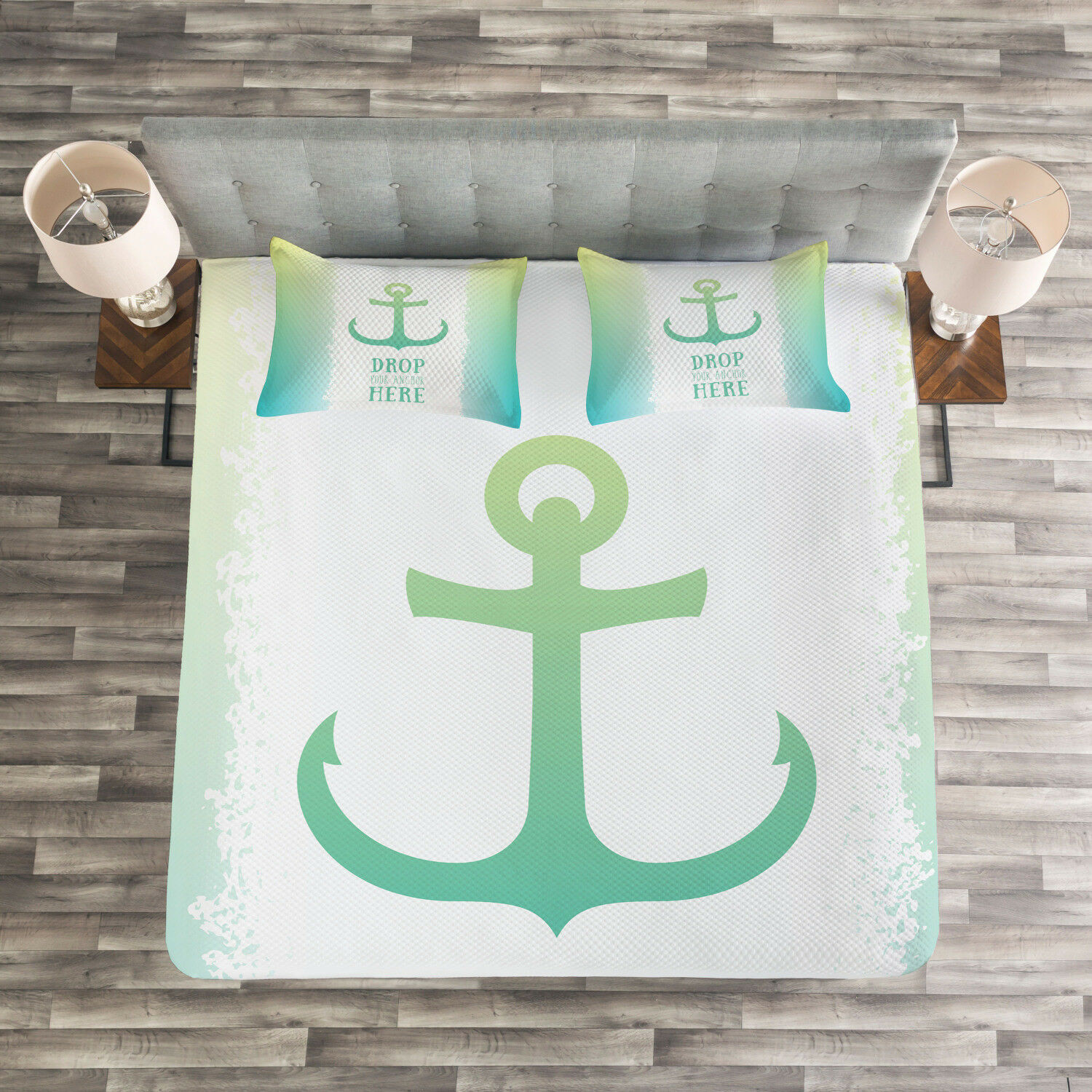 Ocean Quilted Bedspread & Pillow Shams Set, Quote verde Ombre Anchor Print