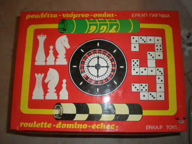 70'S ERKAP ROULETTE DOMINO CHESS VINTAGE GREEK GAME MIB