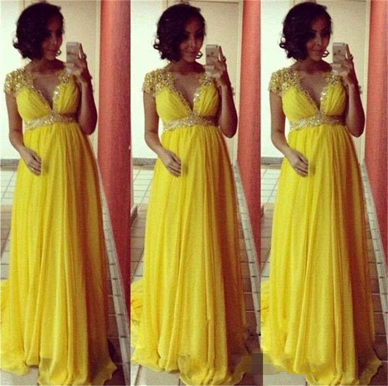 Elegant Yellow Empire Beaded Sequins Maternity Dress Pregnant Evening Gowns 2019